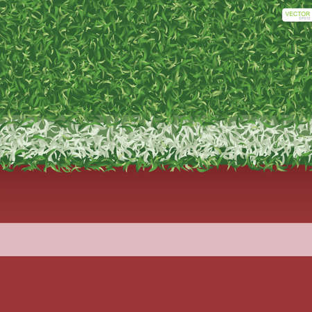 Green grass field of soccer football with running track for sports background. Vector illustration.