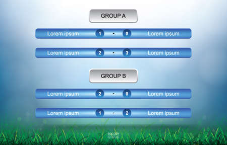 Match schedule background for soccer football cup with green grass field and light blurred bokeh background. Soccer football tournament schedule. Vector illustration.