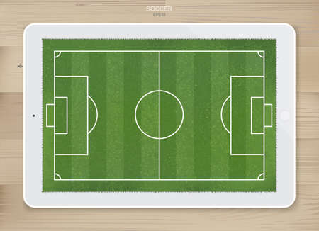 Soccer football field background in display of tablet screen for create soccer game and soccer tactic idea. Vector illustration.