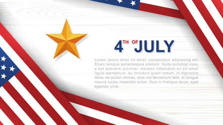 4th of July - Background for USA(United States of America) Independence Day with white wood pattern and texture and American flag. Vector illustration. 向量圖像