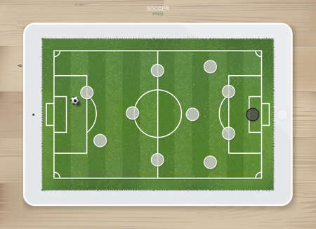 Soccer football game formation tactics on touch screen tablet background with wood texture. Planning position for coach. Vector illustration.