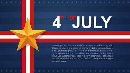4th of July background for USA(United States of America) Independence Day with blue background and American flag. Vector illustration.