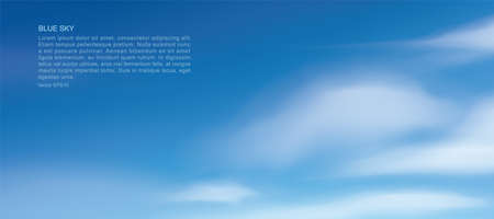Blue sky background with white clouds. Abstract sky for natural background. Vector illustration.