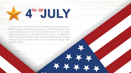 4th of July - Background for USA(United States of America) Independence Day with white wood pattern and texture and American flag. Vector illustration. Vectores