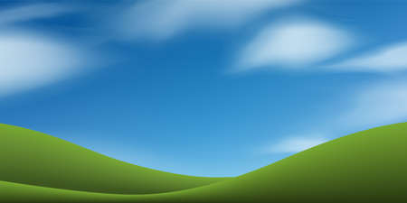 Green grass hill or mountain with blue sky. Abstract background park and outdoor for landscape design idea. Vector illustration. 向量圖像