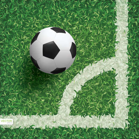 Soccer football ball in corner area of soccer field with green grass pattern texture background. Vector illustration. Vectores