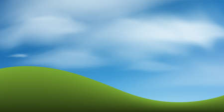 Green grass hill or mountain with blue sky. Abstract background park and outdoor for landscape design idea. Vector illustration.