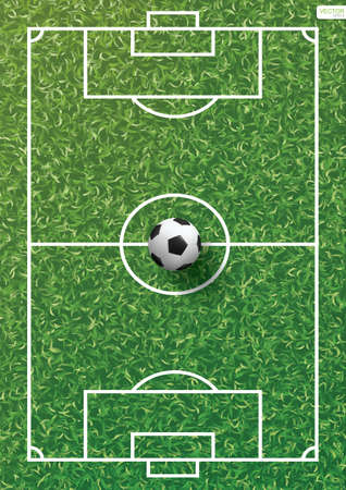 Soccer football ball on green grass of soccer field pattern and texture background. Vector illustration.