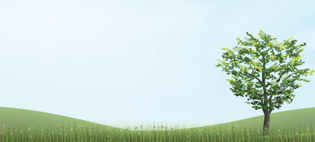 Tree in green grass hill area with blue sky. Vector illustration.