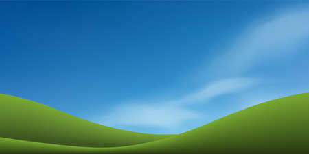 Green grass hill or mountain with blue sky. Abstract background park and outdoor for landscape design idea. Vector illustration. Vectores