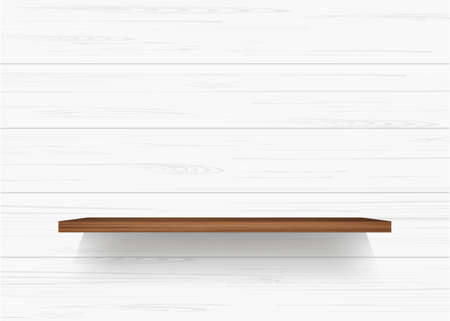 Wooden shelf on white wooden wall background with soft shadow. Vector illustration.