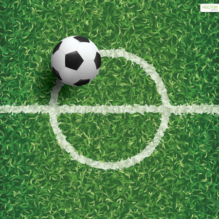 Soccer football ball on green grass of soccer field with center line area. Vector illustration.