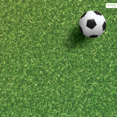 Soccer football ball on green grass of soccer field background. Vector illustration. Vectores
