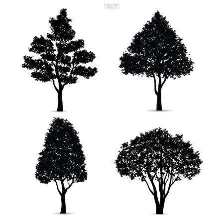 Tree silhouettes isolated on white background for landscape design. Vector illustration.