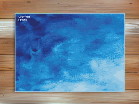 Abstract blue watercolor brush background on wood. Brush stroke pattern and texture idea. Vector illustration.