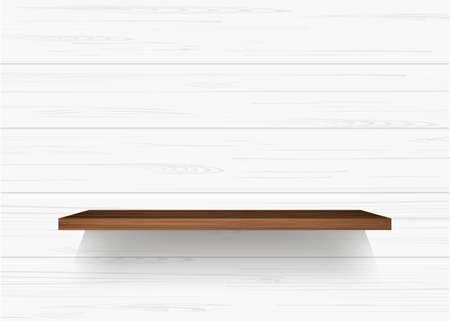 Wooden shelf on white wooden wall background with soft shadow. Vector illustration. Vettoriali