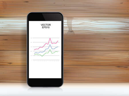 Abstract smartphone and investment graph in display screen over wood texture. Vector illustration.