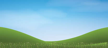 Green grass hill with blue sky. Vector illustration.