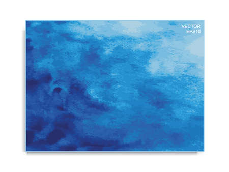 Abstract blue watercolor brush background. Brush stroke pattern and texture. Vector illustration.