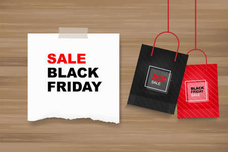 Black Friday background with white paper on wood. Shopping promotion template for sale, discount, special offer, product marketing and banner advertising campaign. Vector illustration.