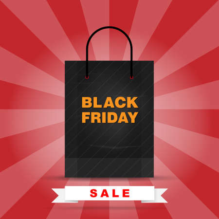 Black Friday sale with shopping sag symbol. Shopping object for sale, discount, special offer, product marketing and banner advertising campaign . Vector illustration.