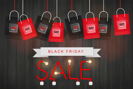 Black Friday background. Shopping promotion template for sale, discount, special offer, product marketing and banner advertising campaign . Vector illustration.