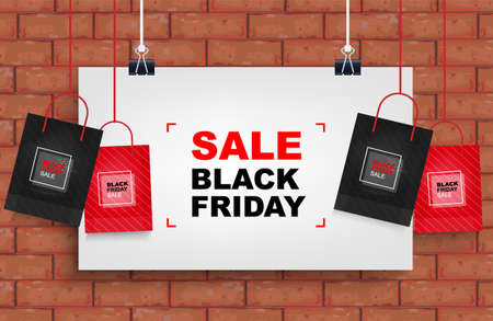 Black Friday background with red brick wall. Shopping promotion template for sale, discount, special offer, product marketing and banner advertising campaign. Vector illustration.