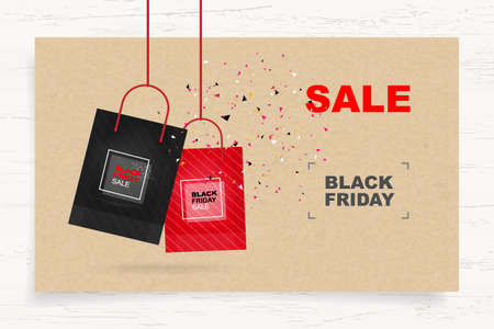 Black Friday background with abstract paper tag background on wood. Shopping promotion template for sale, discount, special offer and banner advertising campaign. Vector illustration. Stock Illustratie
