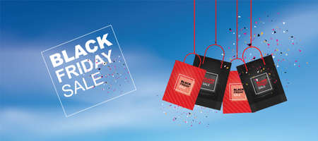 Black Friday background with blue sky. Shopping promotion template for sale, discount, special offer, product marketing and banner advertising campaign. Vector illustration.