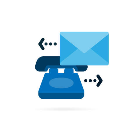 Communication icon of mail and phone symbol. Business pictogram on white background. Vector illustration.