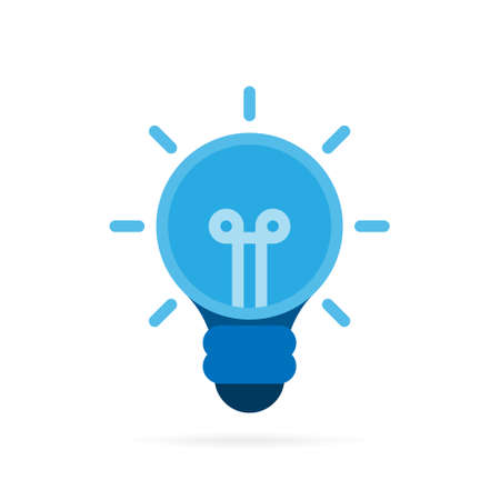 Light bulb or lamp icon. Thinking idea and concept symbol on white background. Vector illustration.