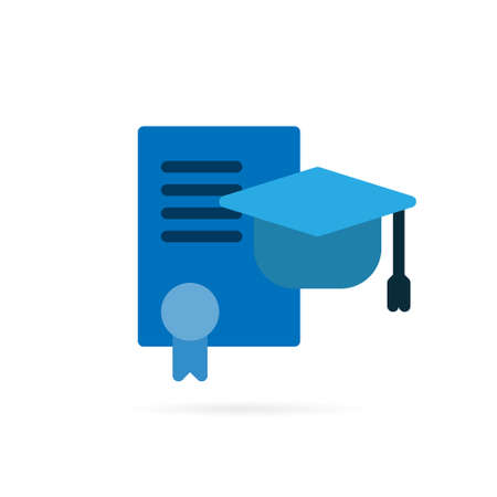 Education icon. Graduation hat and diploma sign and symbol on white background. Vector illustration.