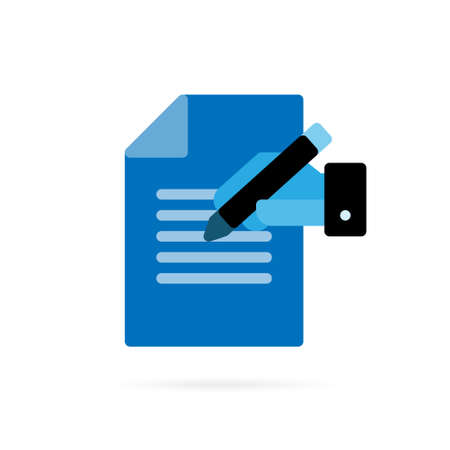 Notepad icon. Simple flat Icon of paper and pen icon. Blue symbol on white background. Vector illustration.