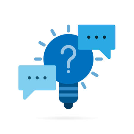 Light bulb and speech bubble icon. Abstract idea and thinking symbol. Blue symbol on white background. Vector illustration.
