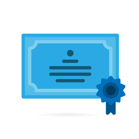 Diploma reputation icon. Guarantee or certificate paper sign and symbol on white background. Vector illustration. Illusztráció