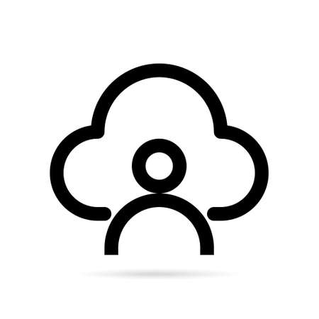 Cloud storage icon. Cloud computing in line icon style. Vector illustration.