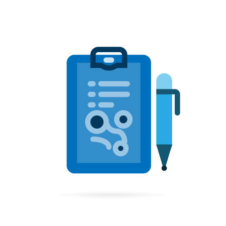 Note paper and pen icon pictogram. Abstract symbol for lecture, meeting, writing and note . Flat style. Vector illustration.