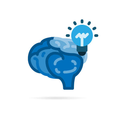Brain and lightbulb icon pictogram. Creative idea flat icon style. Blue sign and symbol on white background. Vector illustration.