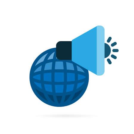 Advertising icon pictogram. Globe and megaphone symbol on white background. Vector illustration.