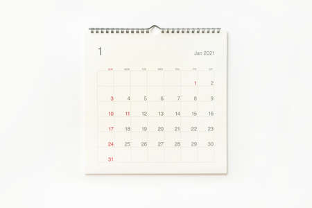 January 2021 calendar page on white background. Calendar background for reminder, business planning, appointment meeting and event. Stockfoto