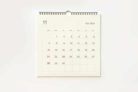 November 2021 calendar page on white background. Calendar background for reminder, business planning, appointment meeting and event.