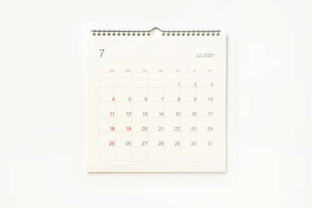 July 2021 calendar page on white background. Calendar background for reminder, business planning, appointment meeting and event.