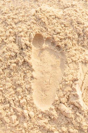 Beach sand footprint ocean coast sea. Close-up image. 免版税图像