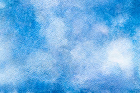 Blue watercolor background. Handmade background of paint brush art texture. Close-up. Stockfoto