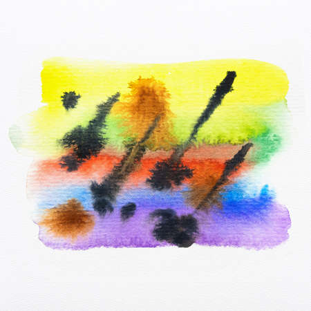 Colorful watercolor brush strokes with space for your own text. Close-up. Stockfoto