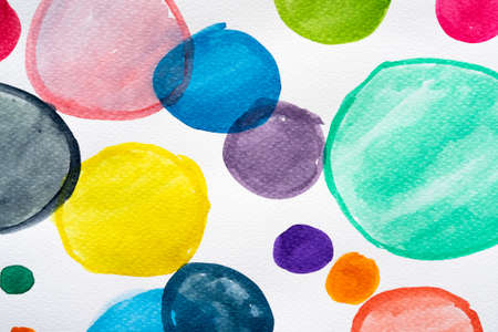 Abstract round watercolor hand painted pattern background. Set of multicolored watercolor brush collection. Close-up.