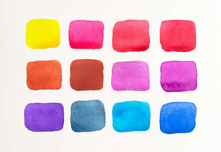 Set of watercolor spot on white background. Color shade collection. Multicolored colorful watercolor brush. Close-up. Stockfoto