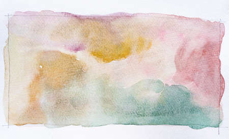 Abstract watercolor stains background. Hand drawn watercolor strokes painting on white. It's perfect for postcards, business cards, posters, web design, packaging, etc. Standard-Bild