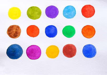 Set of watercolor spot on white background. Color shade collection. Multicolored colorful watercolor brush. Close-up. Standard-Bild