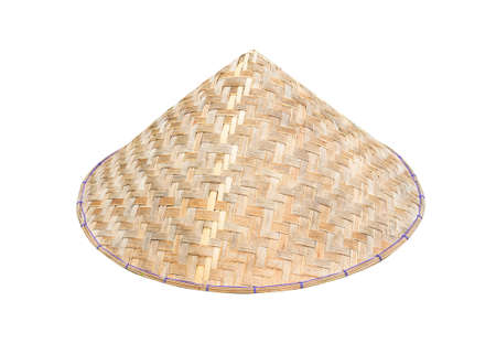 Vietnamese conical hat (Non La) isolated on white background with clipping path. Close-up image.